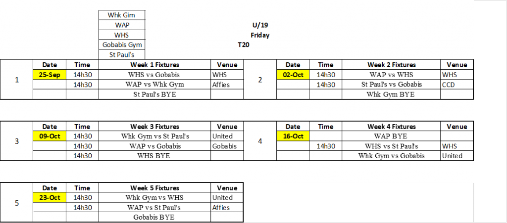 Central School Leage Fixtures