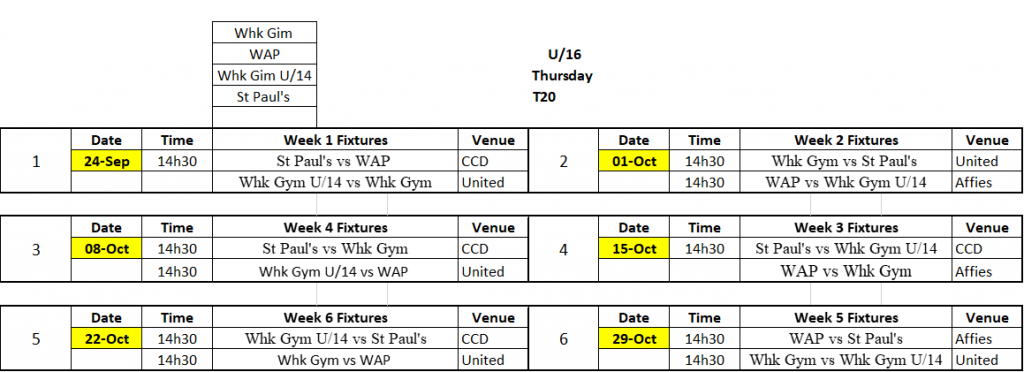 U16 Fixtures