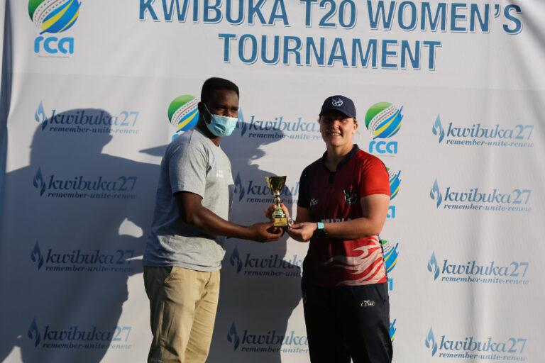 Sune Wittmann receiving her Player of Match accolade from Gahanga Stadium General Manager Eric Dusingizimana
